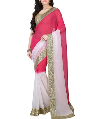 Pink and White Georgette Saree