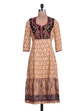 Printed Beige Cotton Anarkali Kurta - By