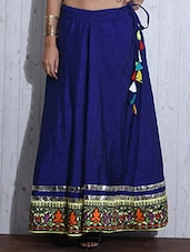 Royal Blue Printed Flared Silk Skirt - By