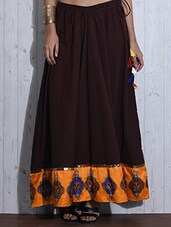 Dark Brown Printed Flared Cotton Skirt - By
