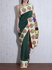 Bottle Green Printed Chanderi Silk Sari - By