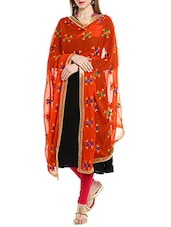 Orange Chiffon Phulkari Dupatta - By