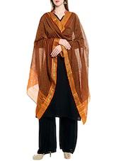 Orange Cotton Ikat Dupatta - By