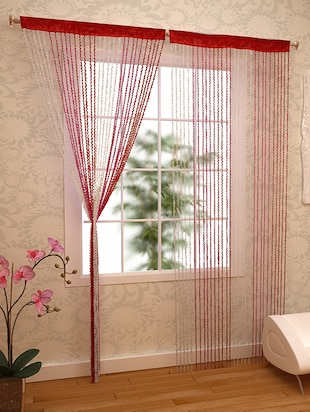 RED, PINK & WHITE SPIRAL CURTAIN -  online shopping for Curtains