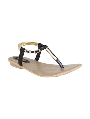black faux leather sandals -  online shopping for sandals
