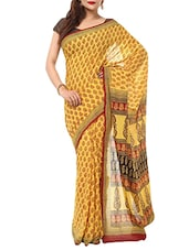 yellow printed maheshwari saree -  online shopping for Sarees