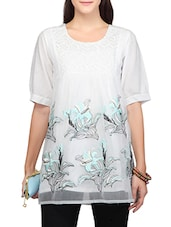 white cotton embroidered top -  online shopping for Tops