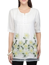 white cotton embroidered tunic -  online shopping for Tunics