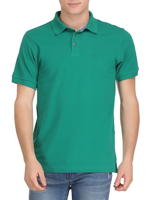solid green cotton t-shirt