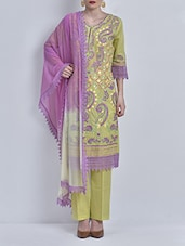Green Embroidered Tie And Dye Suit Kurti And Dupatta - By