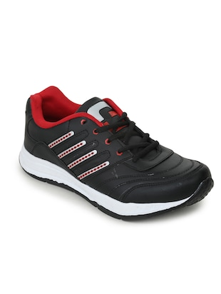 black leatherette(pu lace up sport shoes -  online shopping for Sport Shoes