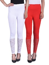 Pink And Red Viscose Laced Leggings (Set Of 2) - By