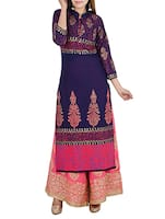 blue cotton printed long kurta -  online shopping for kurtas