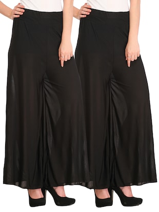 set of 2 black viscose palazzo -  online shopping for Palazzos