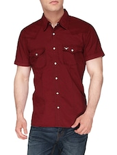 red cotton casual shirt -  online shopping for casual shirts