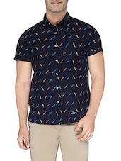 navy blue cotton printed casual shirt -  online shopping for casual shirts