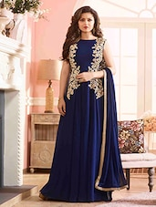 blue georgette semi stitched gown -  online shopping for gowns