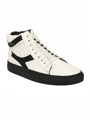 white Leatherette lace up sneaker