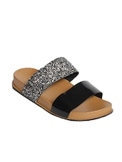 black synthetic slip on sandals -  online shopping for sandals