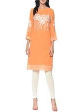 orange Embroidered georgette kurta -  online shopping for kurtas