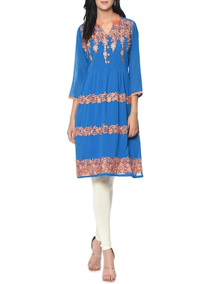 blue floral Embroidered georgette a-line kurta -  online shopping for kurtas