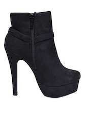 Black Suede High Heel Boots - By