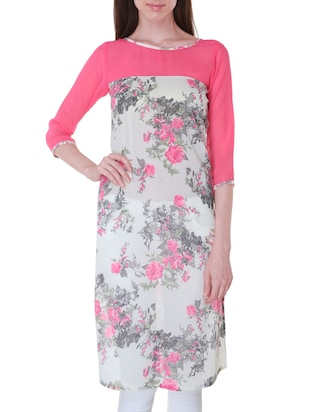 White and Pink Georgette Floral Print Kurti