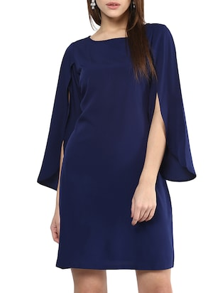navy blue crepe shift dress