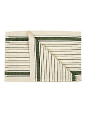 Dhrohar Hand Woven Cotton Table Mat - Pack Of 2 Mats - Off White & Green - By