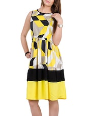 yellow printed crepe dress -  online shopping for Dresses