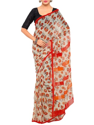 cream floral printed georgette saree