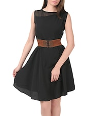 black crepe belted dress -  online shopping for Dresses