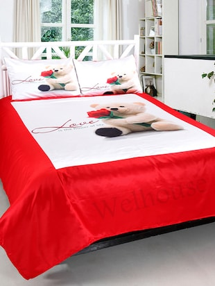 ValtellinaTeddy Love Print Double bedsheet & 2 Pillow Covers