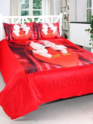 ValtellinaCouple Teddy Print Double bedsheet & 2 Pillow Covers