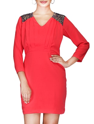 red crepe dress with lace details