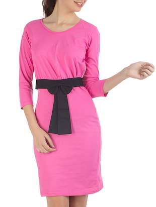 pink single jersey front bow tie up dress