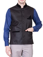charcoal grey cotton nehru jacket -  online shopping for Nehru Jacket