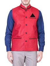red cotton nehru jacket -  online shopping for Nehru Jacket