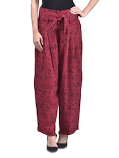 Red Rayon Printed Pants - By