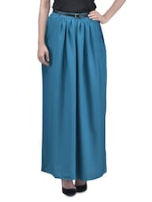 White Polyester Printed Long Skirt With Gathers - By