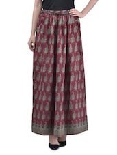 Red Polyester Printed Long Skirt With Gathers - By