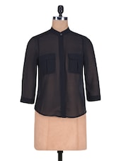 Black Poly  Georgette Plain Shirt - By