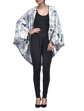White Poly Crepe Printed  Shrug - By