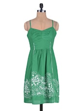 Green Cotton Plain EmbroideredDress - By