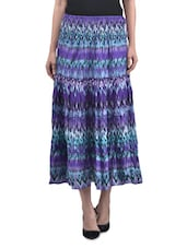 Multicolored Cotton Printed Skirt With Gathers - By