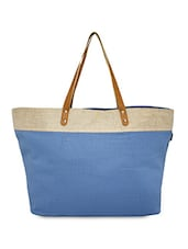 natural & dusty blue Canvas tote bag -  online shopping for Totes