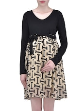 Black And Beige Viscose Polygeorgette Printed Dress - By