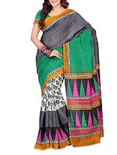 Multicolored Art Silk Printed Saree - By