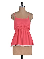 Pink Poly Crepe Top With Elasticized Waist - By