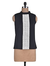 Black Poly Crepe Top With Lace Detail - By
